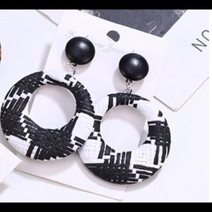 Black and white rattan round drop earrings